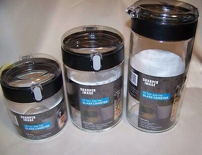 Sharper Image Pop Top Glass and Acrylic Canister Set  3pc