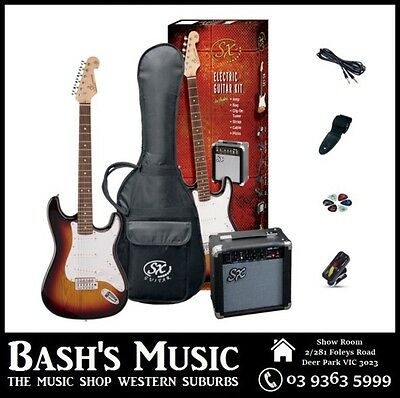 SX Electric Guitar Starter Package with Amp + Tuner + Bag 3 Tone Sunburst