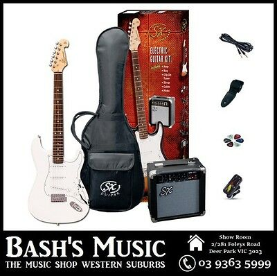 SX Electric Guitar Starter Package with Amp + Tuner + Bag White