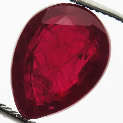 11 Ct Rare Awesome! Pigeon Blood Red Ruby Chatam Pear  Gem