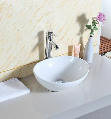Oval Design Bathroom Ceramic CounterTop Shelf Or Vanity Unit Wash Basin Sink New