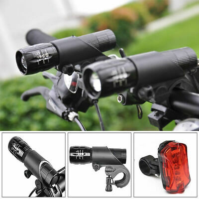 Hot Q5 LED 2000LM Bike Bicycle Flashlight Torch Front Head & Rear Tail Light Set