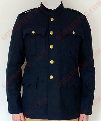 WW1 British Army Officer Stand Collar Dark Blue Servie Dress Tunic L