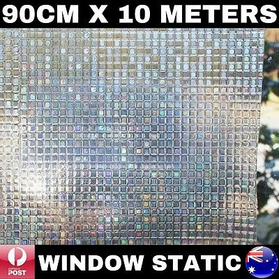 90Cm X 10M 3D Laser Window Static Glass Privacy Film Removable Reusable Glueless