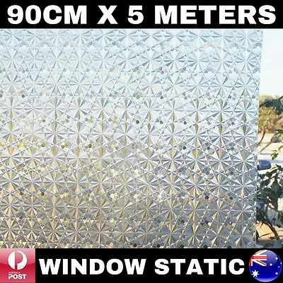90Cm X 5M 3D Laser Window Static Glass Privacy Film Removable Reusable Glueless