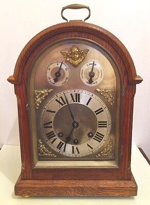 "German Oak Cased Westminster Chimes bracket / Mantle Clock GWO 14"" H 10""W 7""D"