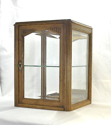 Rare French Antique Glass Oak Cabinet Jewellery Haberdashery Curios Display