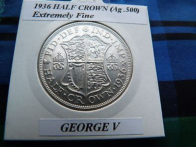 EXTREMELY FINE? 1936 HALF CROWN (Silver .500)  George V