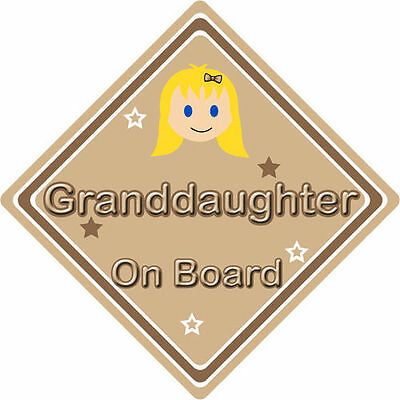 Non Personalised Child//Baby On Board Car Sign~ Granddaughter Unicorn Dark Blue