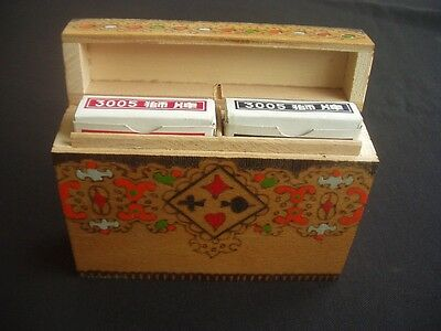 """Vintage Decorated Wooden Hinged """"flip-Top"""" Playing Card Box ~2 Packs Lion Cards"""