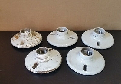 Lot of 5 Vintage Flush Mount Porcelain Light Fixtures - Single Bulb
