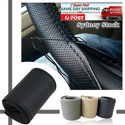 Auto Universal PU Leather DIY Car Steering Wheel Cover With Needles and Thread