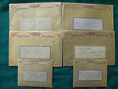 Collection of old 1930's and 1940's GPO Greeting Telegrams posted  North London.
