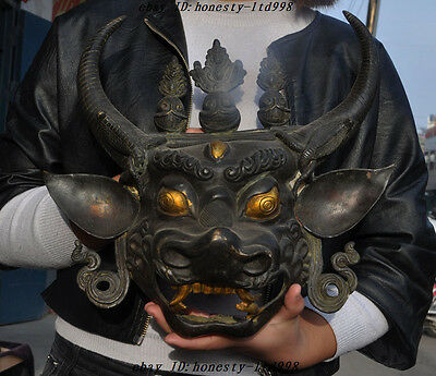 """14""""Old Chinese bronze gilt Fengshui Oxen Bull Statue Exorcism Masks Wall Hanging"""