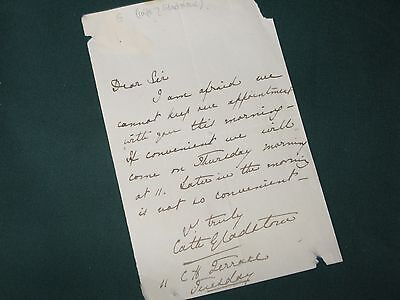 Autograph letter Catherine Gladstone wife of the Prime Minister