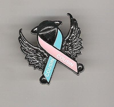 L9) Pink Blue Awareness Angel Pin - Cousin