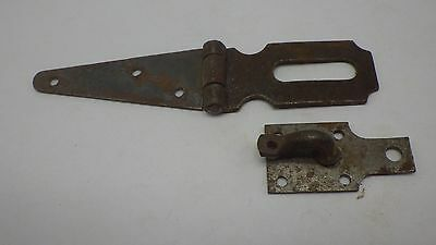 Vintage Antique Hinged Hasp Latch Lock Gate Door Barn w Keeper Eye Rusty #5