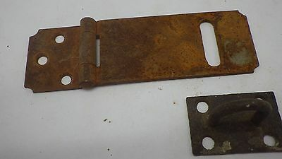 Vintage Antique Hinged Hasp Latch Lock Gate Door Barn w Keeper Eye Rusty #9
