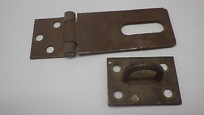 Vintage Antique Hinged Hasp Latch Lock Gate Door Barn w Keeper Eye Rusty #10