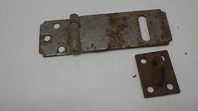 Vintage Antique Hinged Hasp Latch Lock Gate Door Barn w Keeper Eye Rusty #11