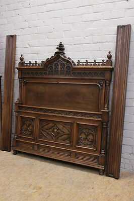 Antique French Gothic Bed Walnut 19th Century Nicely Carved Model High Crown