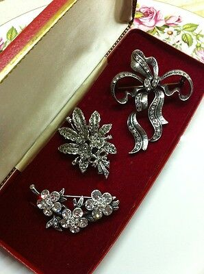 Vintage Marcasite Brooch Job Lot Floral Theme - All Nice Condition