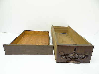 Antique Lot Two Old Wood Brown Sewing Machine Cabinet Sliding Drawers Parts