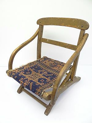 Antique Wood Wooden Blue & Red Oriental Prayer Rug Seat Kids Childrens Chair