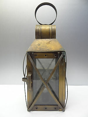 Vintage Used Metal Brass Glass Windowed Electrified Outdoor Porch Lantern Parts