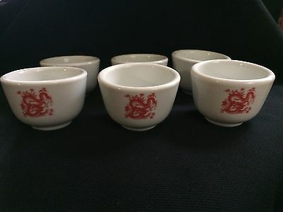 Set Of 6 CHINESE RESTAURANT WARE Teacups. Great China. RED DRAGONS.