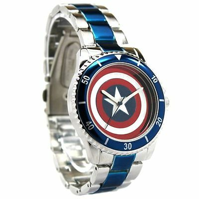 Marvel Avengers Captain America Shield Watch With Metal Strap Licensed Jewellery