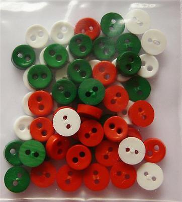 60 MINI MICRO CHRISTMAS BUTTONS 6mm ASSORTED COLOURS DOLLS RED GREEN WHITE