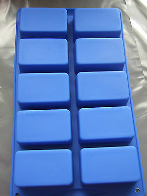 Silicone Mould- 10 Rectangle Cavities- Mini Loaf, Flapjack, Cake Bars,Baking Tin