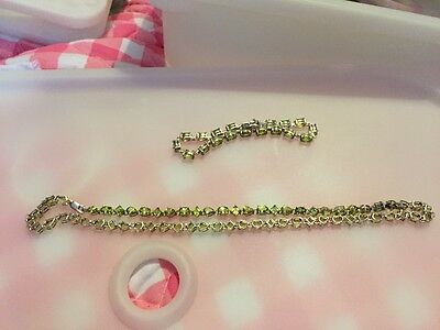 Perodot Sterling Silver Necklace And Bracelet. Bargain.