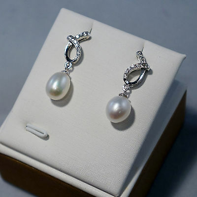 E018 Genuine Freshwater Pearl Drop 925 Silver Earrings / Studs Gift for Her