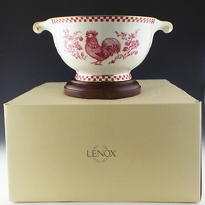 Lenox China Provincial ROOSTER Bowl 2 Handles Centerpiece Ltd Ed French Country