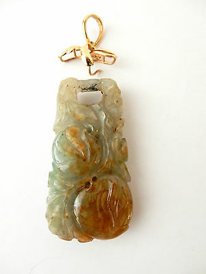 Late 1800 Qin Dynasty 14 kt gold Jadeite Jade  Carved Pendant  w/GIA CERTIFICATE