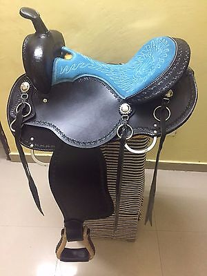"Western Black Barrel Racer Arabian Skirt Style With Blue Seat 16"" Saddle"