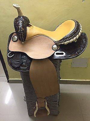 """Western Natural/Brown Barrel Racer Hand Carved 16"""" Saddle With Clear Stones"""