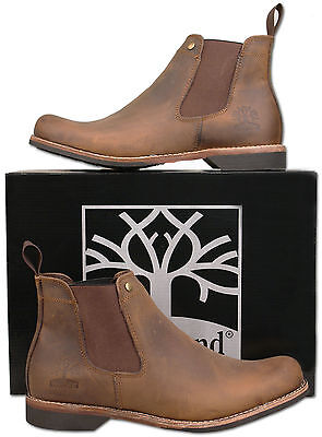 Mens New Brown Crazy Horse Leather Chelsea Ankle Boots Size 6 7 8 9 10 11 12