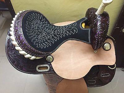 """Western Natural/Brown Barrel Racer Hand Carved 15"""" Saddle With Purple Stones"""