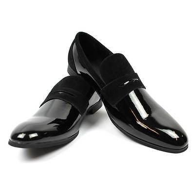 New Men's Black Tuxedo Slip On Patent Suede Details Dress Shoes Bradley By AZAR