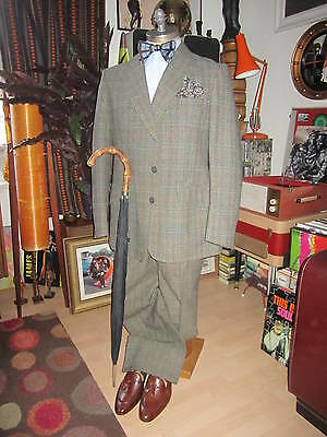 Vtg GUARDS Lindy Hop Two-ply Twist Thornproof Wool Suit.X-Large.C 44-46,W 36-38""