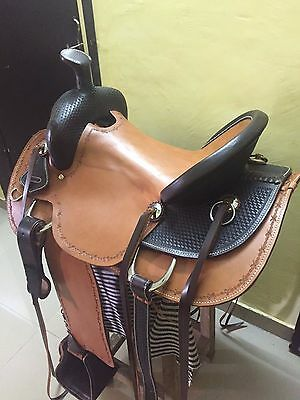 """Western London Tan/Brown Roper Ranch Hand Tooled 17"""" Saddle With Leather Strings"""