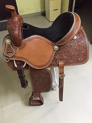 "Western London Tan Roper Ranch Hand Tooled 17"" Saddle With Congress Conchos"