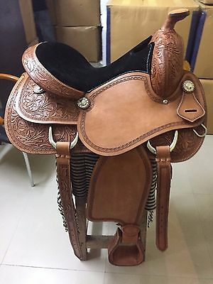 "Western London Tan Reining/Pleasure Hand Carved 17"" Saddle With Congress Conchos"