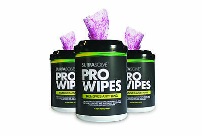 "SURFASOLVE PRO-WIPES 1 Canister (72 Count 12"" x 10"") REMOVES ANYTHING!"