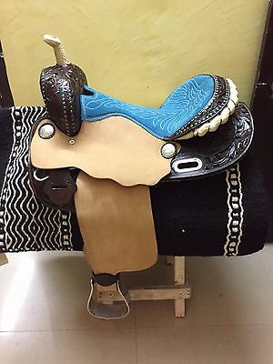 "Western Natural Brown Barrel racer hand Carved 16"" Saddle With Blue Stones"