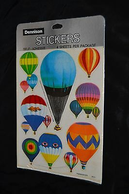 Vtg 1970's Colorful DENNISON Stickers HOT AIR BALLOONS DOUBLE EAGLE II  NIP
