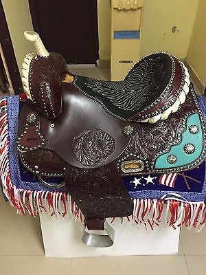 """Western Brown Barrel racer Hand Carved 16"""" Saddle With Inlay On Skirt and Concho"""